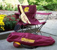MAROON FOLDABLE TAILGATE CHAIR WITH GOLD FLYING C