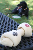 Rawhide Dog Bone With Flying C And Paw Print
