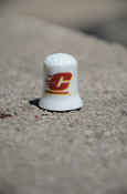Flying C White Collectible Thimble