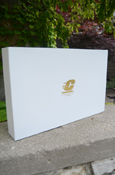 "17X11 WHITE GIFT BOX WITH GOLD FLYING ""C"""
