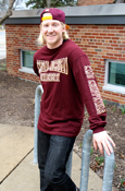 Arched Central Michigan University Maroon Long Sleeve With C M U Chippewas On Sleeve