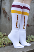 Maroon And Gold Striped Chippewas Tube Socks