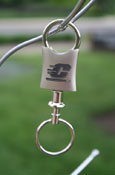 Etched Silver Flying C Key Tag With Key Ring
