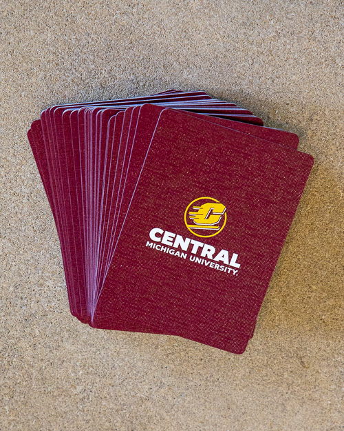 "MAROON PLAYING CARDS W/ FLYING ""C"" -PLASTIC COATED"