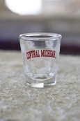 Frosted Central Michigan Shot Glass W/ Flying C