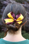 Knotted Maroon And Gold Stripe Bow Barrette