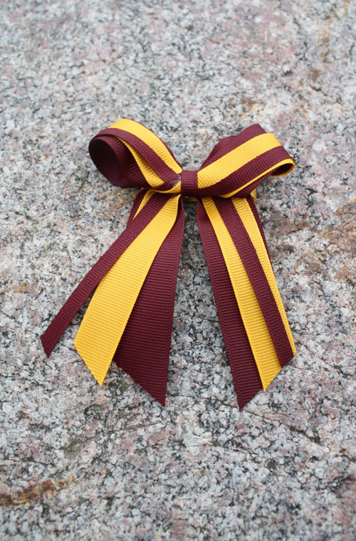 MAROON AND GOLD BOW CLIP (SKU 1194701123)