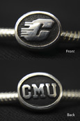 Silver Bead With Black Flying C On One Side And Black Cmu On Reverse