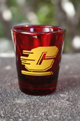 Flying C Maroon Shot Glass 1.5Oz