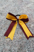 MAROON AND GOLD BOW HAIR TIE