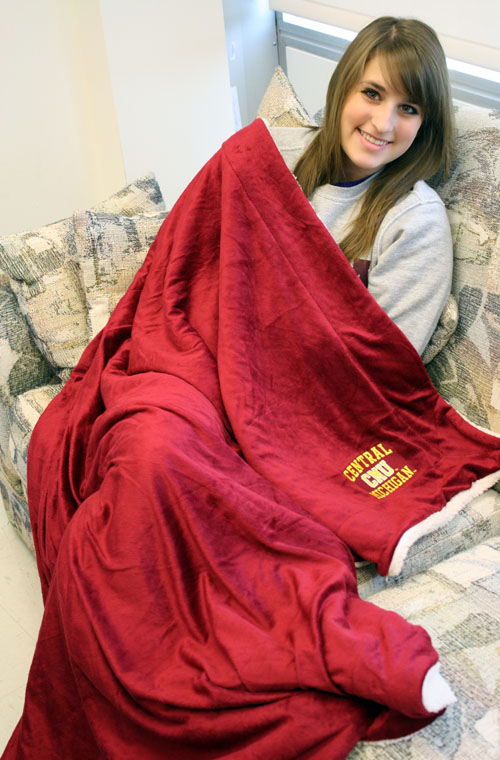 Maroon Plush Blanket Central Michigan Cmu Sherpa (SKU 1205636115)