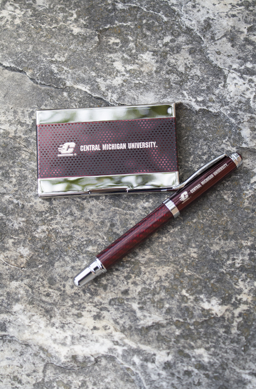 Chrome And Maroon Business Card Holder And Pen Set (SKU 1209382375)