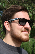 Black Sun Glasses With Flying C Pattern