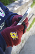 Flying C Maroon Knit Texting Gloves