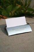 Central Micigan Silver Business Card Holder