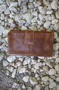 Ladies Wallet - Genuine Leather Snap Clutch With 13 Card Slots