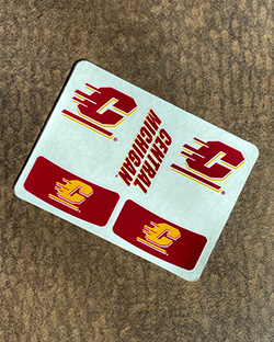 Vintage collection of Central Michigan University items marble paperweight and 2 bumper stickers