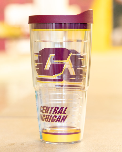 Tumbler - 24 oz Flying C Central Michigan Tervis with Maroon Lid