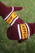 Chippewas Knit Maroon And Gold Mittens