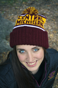 Maroon And Gold Central Michigan Knit Hat With Pom