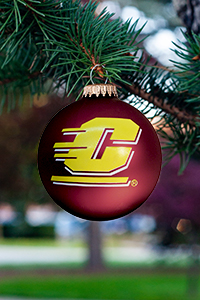 Maroon with Gold Flying C Christmas Ornament
