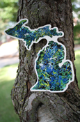 "Art Sticker - Michigan (approx. 6"" tall) - artwork by Ryan Greiner, Never Wonder Studio"