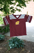 Flying C Maroon T-Shirt With Gray Stripes On Sleeves
