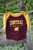 Arched Central Michigan Flying C Maroon T-Shirt With Gold Sleeves
