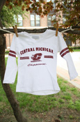 White Central Michigan Chippewas Youth V- Neck Long Sleeve T-Shirt