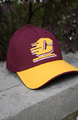 Maroon And Gold Stretch Fit Hat With Mesh Flying C Logo