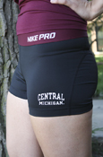 Nike Pro Central Michigan Maroon And Black Compression Shorts