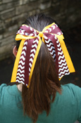 Maroon, Gold, And Chevron Ponytail Bow