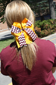 Large Maroon And Gold Chevron Ponytail Bow