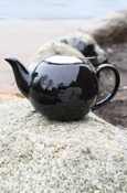 24Oz Black Flying C Teapot With Removable Mesh Tea Strainer
