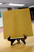 Paper - 12 x 12 Maroon and Gold Small Chevron Scrapbook Paper