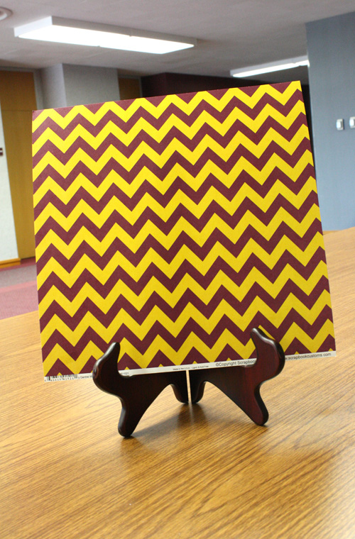 Paper - 12 x 12 Maroon and Gold Large Chevron Scrapbook Paper (SKU 5010387420)