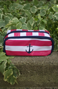 Pencil Case - Nautical Pink, White, And Blue