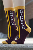 Central Chippewas Maroon Adidas Socks With Vertical Stripes