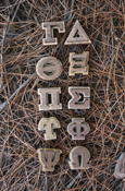 Wood Greek Letters - Double Oak With Adhesive Back