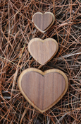 Wood Heart - Double Oak With Adhesive Back