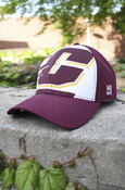 Large Flying C White And Maroon Hat