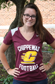 Ladies Nike Flying C Chippewas Football Maroon V-Neck