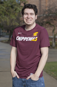Nike Flying C Gold Slash Chippewas Maroon Hypercool T-Shirt