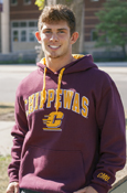 Stitched Chippewas Flying C Maroon Hoodie With C M U On Sleeve