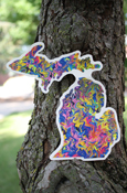 "Art Sticker - Michigan Sunset (approx. 6"" tall) - artwork by Ryan Greiner, Never Wonder Studio"
