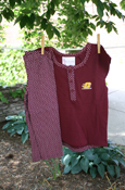 Flying C Maroon T-Shirt With Polka Dot On Back And Polka Dot Leggings