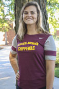 Nike Central Michigan Chippewas Ladies T-Shirt With Gray And Maroon Stripe Sleeve