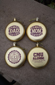 Seal, Aumni, Mom, And Dad Gold Ornaments
