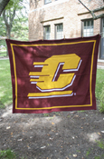 63 X 53 Central Michigan Flying C Knit Blanket