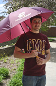 "Maroon Flying C Central Michigan With Flying C Wooden Handle 48"" Umbrella"